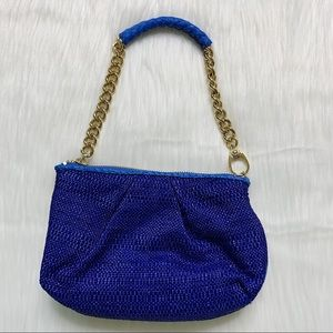 Henri Bendel Wristlet Mini Purse Blue Knit Leather